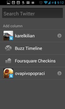 TweetDeck: vyhledávání
