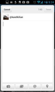 Twitter - oficiální aplikace:  psaní nového příspěvku