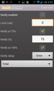 Traffic Counter: nastavení limitů