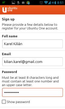 Zadáte jméno, e-mail a heslo