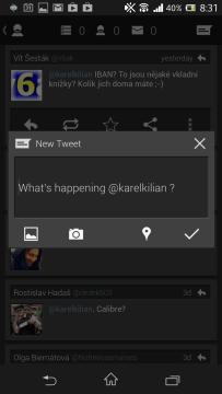 Falcon Pro: psaní nového tweetu