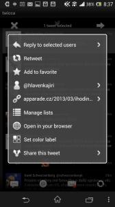 twicca: možnosti práce s tweetem