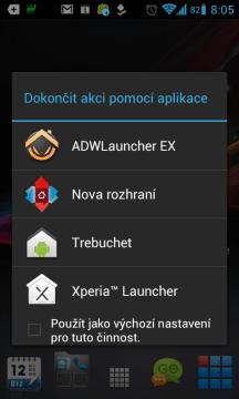 Nabídka dostupných launcherů