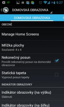 Nastavení: domovská obrazovka