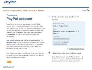 Pokud se rozhodnete pro dobití účtu převodem, zobrazí se vám následující formulář s informacemi o účtu, na který peníze poslat. V následující kapitole si možnosti podrobně rozebereme.