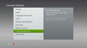 Následně přejdeme do sekce Connected Devices a změníme volbu Xbox Smartglass App na ON