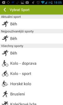Endomondo Sports Tracker: výběr sportů