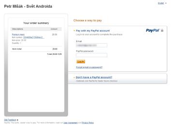 Formulář zobrazený před přihlášením do služby. Vyplněním hesla a přihlášením ještě platbu neprovádíte.