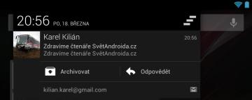 Nová verze Gmailu umí odpovídat na e-maily z notifikační lišty