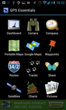 GPS Essentials: hlavní nabídka