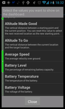 GPS Essentials: výběr prvků na panel