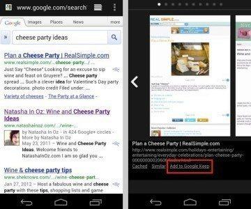 Na screenshotu vpravo si povšimněte odkazu Add to Google Keep