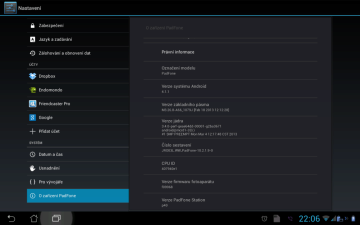 Android 4.1.1 Jelly Bean, firmware JRO03L.WW_PadFone_10.2.1.9-0
