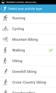 RunKeeper: výběr sportů