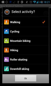 Sports Tracker: výběr sportů