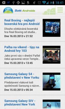SvetAndroida.cz: sekce