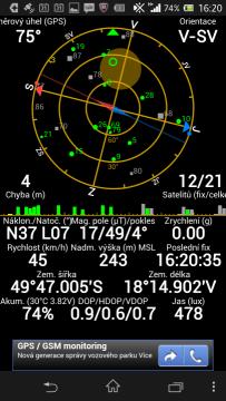Xperia Z viděla obvykle více než 20 satelitů a fixovala v průměru na 12 z nich