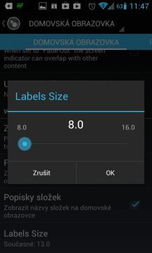 Změna velikosti popisků ikon