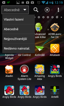 Možnosti řazení ikon v seznamu aplikací