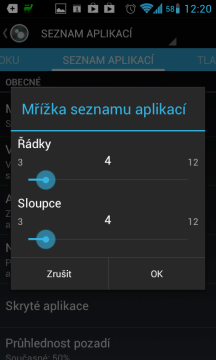 V seznamu aplikací lze zobrazit od 3x3 do 12x12 ikon na obrazovku