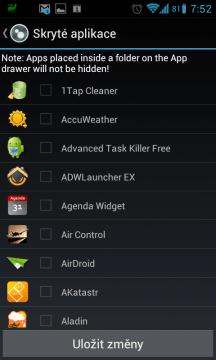 Skrývání aplikací ze seznamu