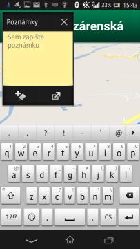 Miniaplikace poznámka v plovoucím okně