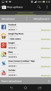 Obchod Play zajišťuje automatickou aktualizaci aplikací