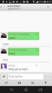 Zobrazení SMS dialogu