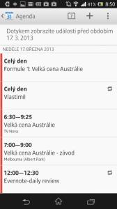 Kalendář v režimu agendy