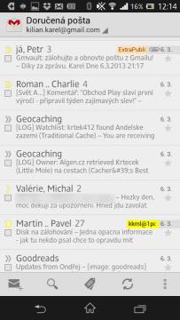 GMail - seznam zpráv