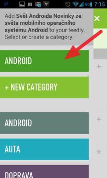 Vyberte kategorii, do které má být kanál zařazen, případně vytvořte novou