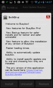 Uvítací dialog BusyBoxu