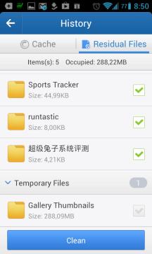 V sekci Residual Files program hledá zbytečné soubory