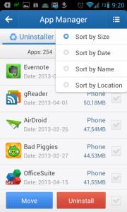 Aplikace lze řadit podle velikosti, data, jména a úložiště
