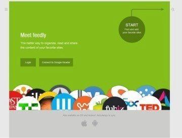 Úvodní stránka webu Feedly. Kliknutím na tlačítko Connect to Google Reader spustíte rychlou a bezproblémovou synchronizaci.