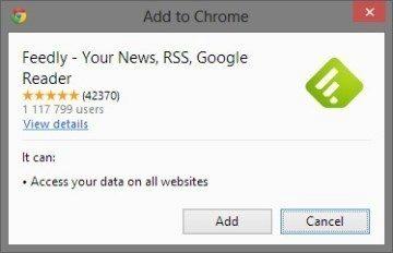 Pokud si do prohlížeče Chrome stáhnete zásuvný modul Feedly, bude přidávání nových feedů otázkou jednoho kliknutí
