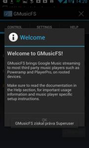 Úvodní dialog aplikace GMusicFS