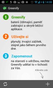 Úvodní obrazovka aplikace Greenify