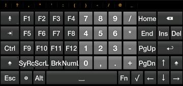 Hacker's Keyboard nabízí kurzorové klávesy