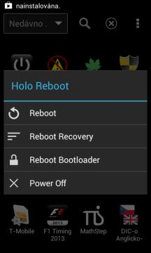 Nabídka aplikace Holo Reboot