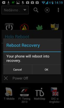 Telefon bude restartován do recovery