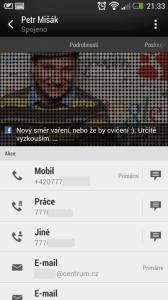 Standardní obrazovka kontaktu