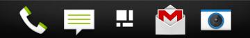 Dok aplikací obsahuje čtyři ikony, lze však vytvořit složky