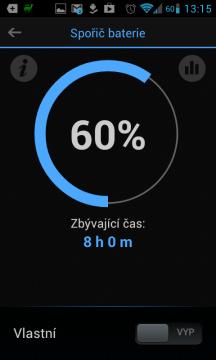 Aktuální stav baterie a odhadovaný čas do vybití