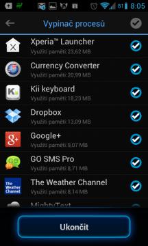 Seznam běžících aplikací