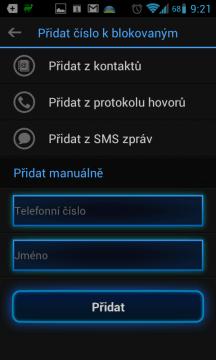 Výběr z kontaktů, z protokolu hovor z doručených SMS zpráv, nebo manuální zadání