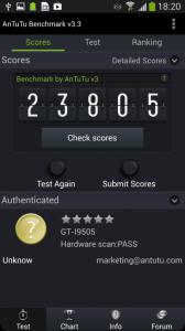 Nekompromisní výsledek z benchmarku AnTuTu v3.3