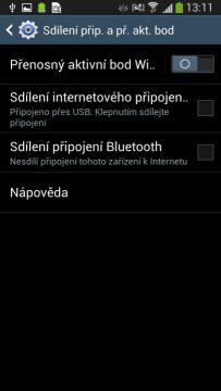 Internet lze sdílet prostřednictvím USB