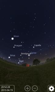 Uživatelské rozhraní aplikace Stellarium