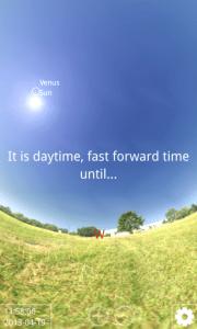 Pokud je den, Stellarium se automaticky přenese do nočních hodin